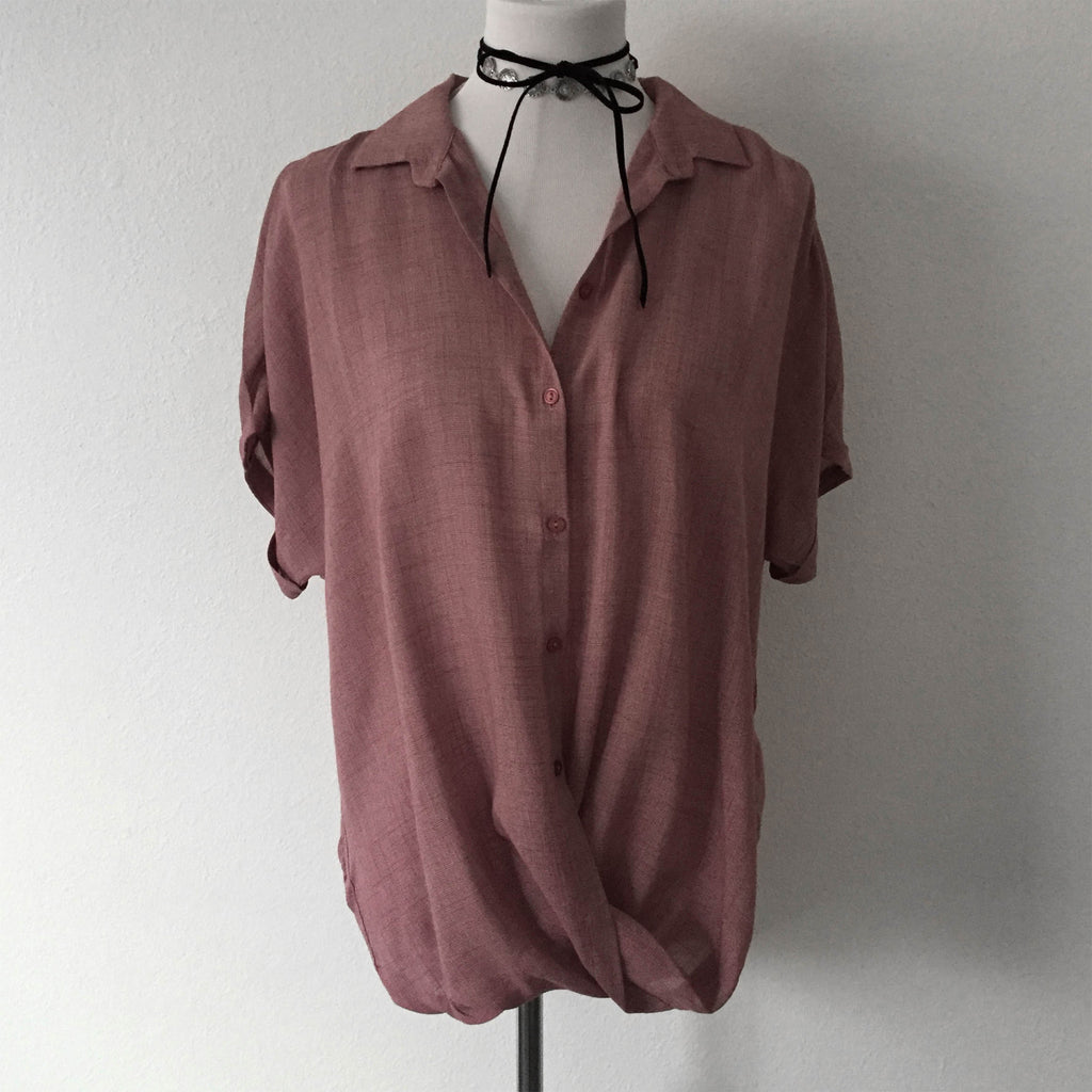 Deep Rose Twist High/Low Button Down