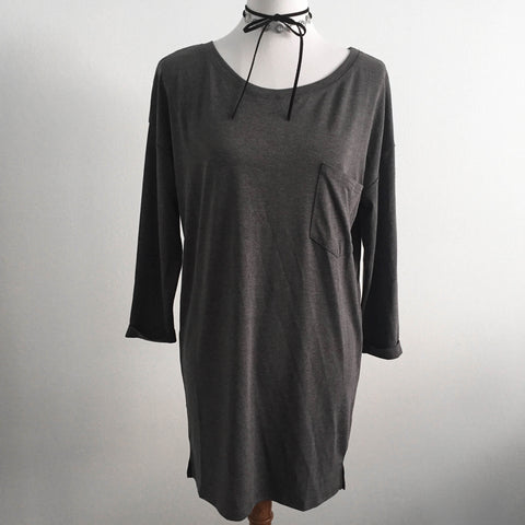 Basic Gray Long Sleeve Dress