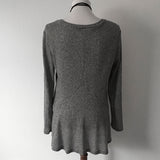 Grey V-Neck Swing Sweater