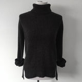 Charcoal Cable Knit Turtle Neck Sweater