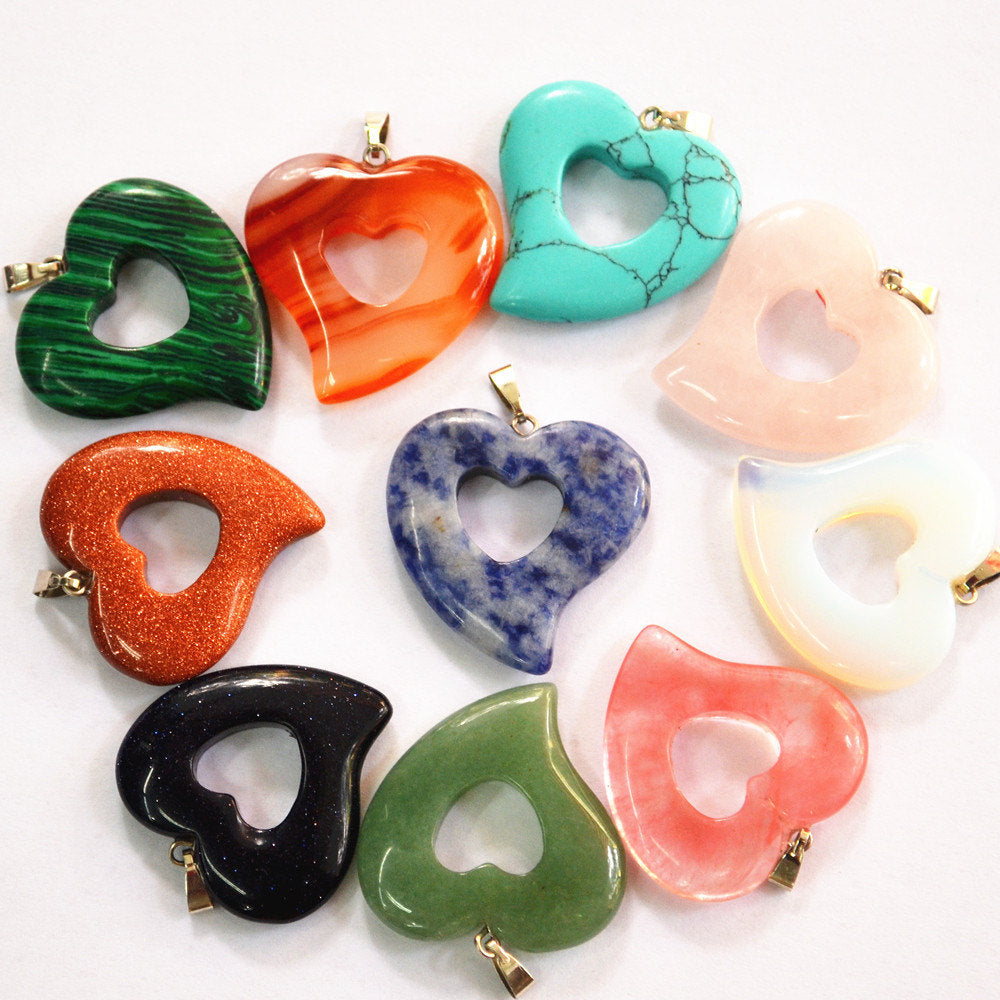 Natural Stone Pendants 12 pcs heart shaped natural stone pendants your little store audiocablefo