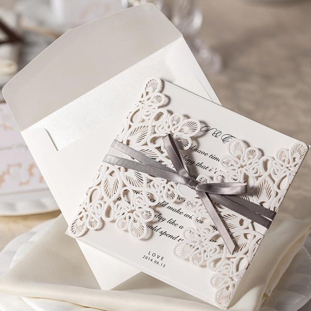 10 Pcs Lace & Ribbon Wedding Invitation Cards – Your Little Store