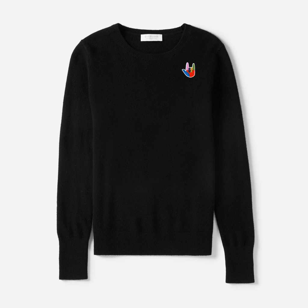 ily patch - women's cashmere crew