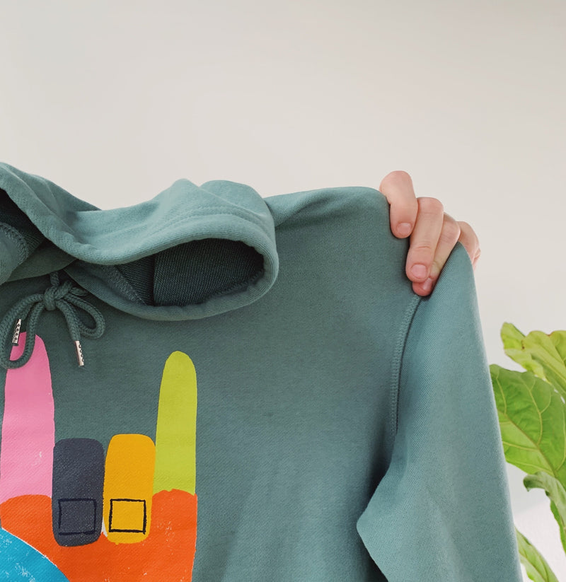 WOMEN'S BIG LOVE HOODIE - BLACK & SAGE