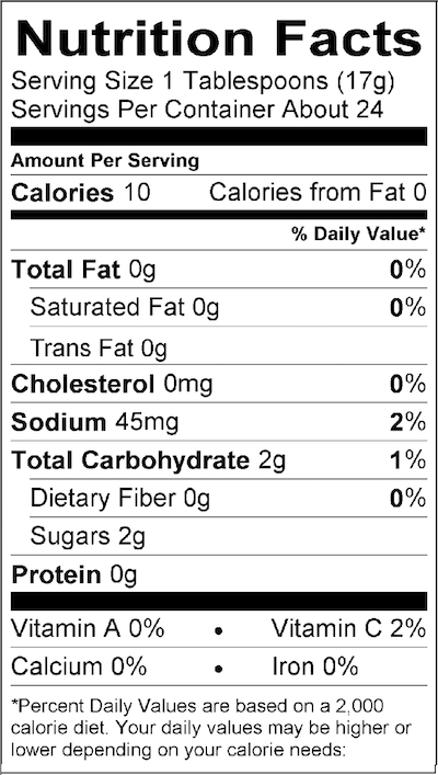 Nutritional Facts | Beetchup Original