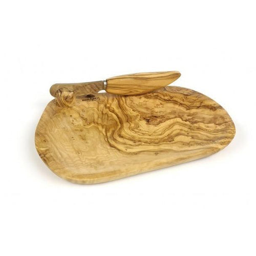 Berard 5.5x7in Olive Wood Butter Dish with Knife