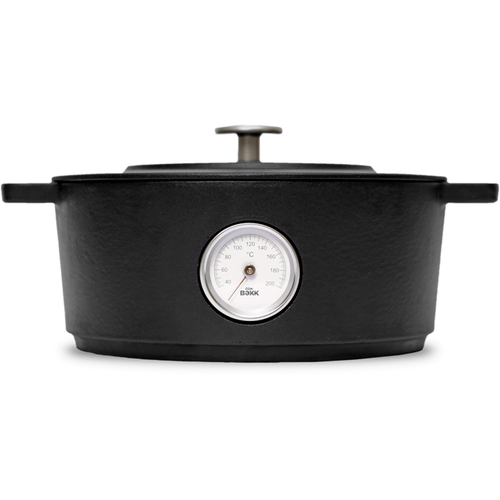 Combekk 4L Enamelled Dutch Oven with Thermometer Dark Grey