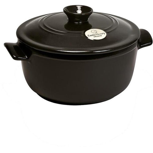 Emile Henry Flame Ceramic 2.5L Round Stewpot Charcoal