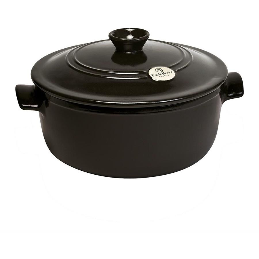 Emile Henry Flame Ceramic 4L Round Stewpot Charcoal
