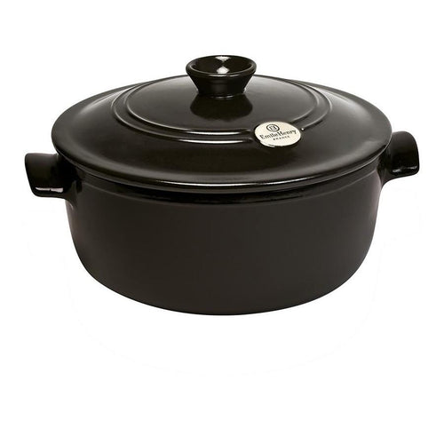 Emile Henry Flame Ceramic 5.3L Round Stewpot Charcoal