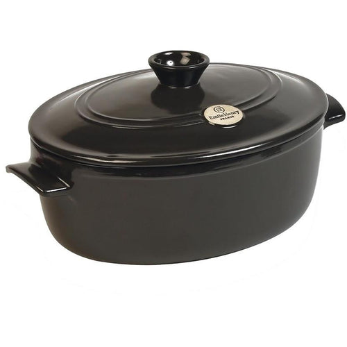 Emile Henry Flame Ceramic 6.0L Oval Stewpot Charcoal