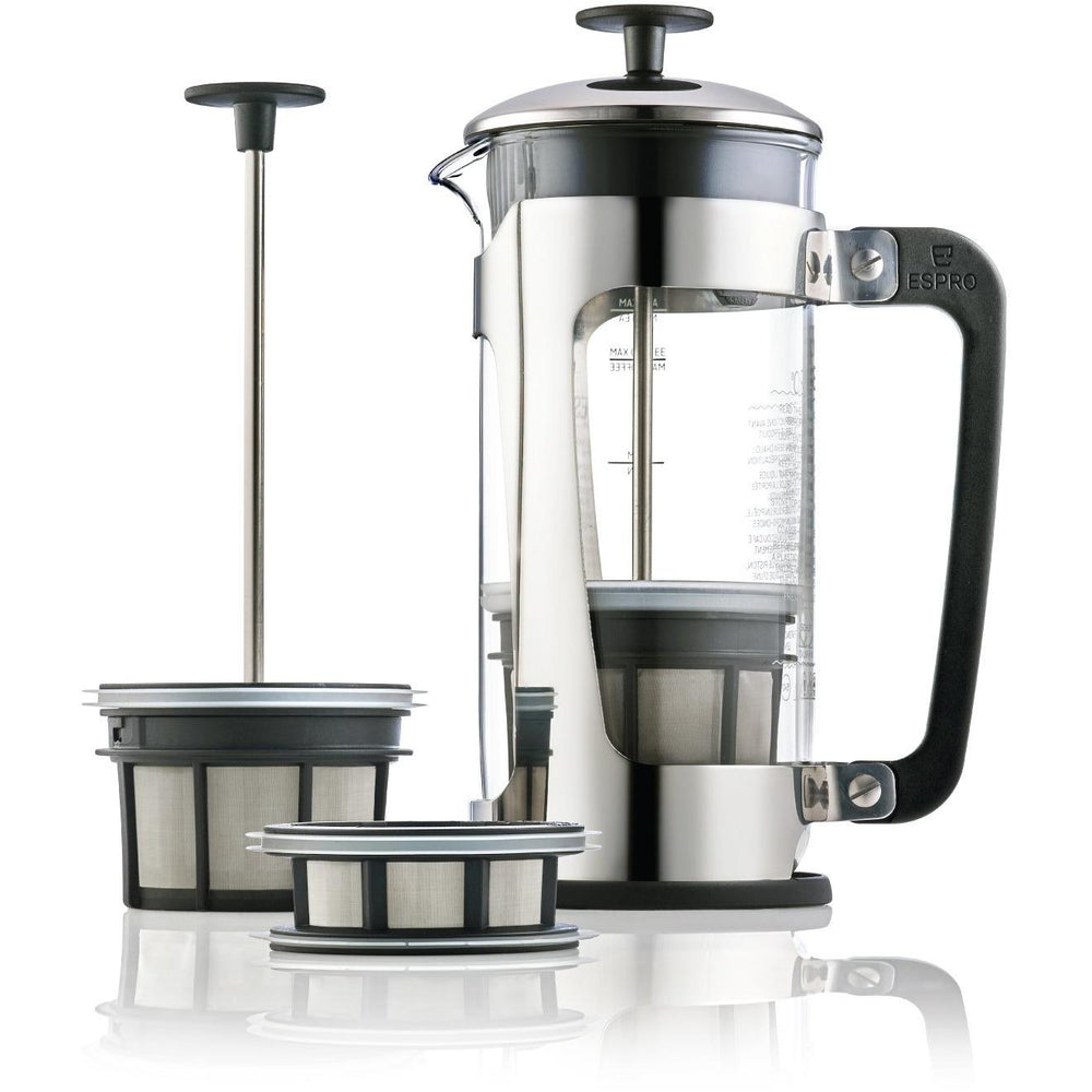 Espro Press P5 32oz French Press for Coffee Glass + Polished Stainless