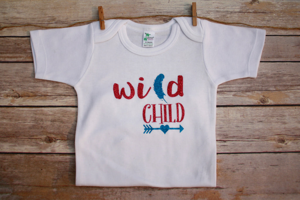 Cutest Baby Girl Clothes Wild Child Bodysuit Pink Sequin Shorts