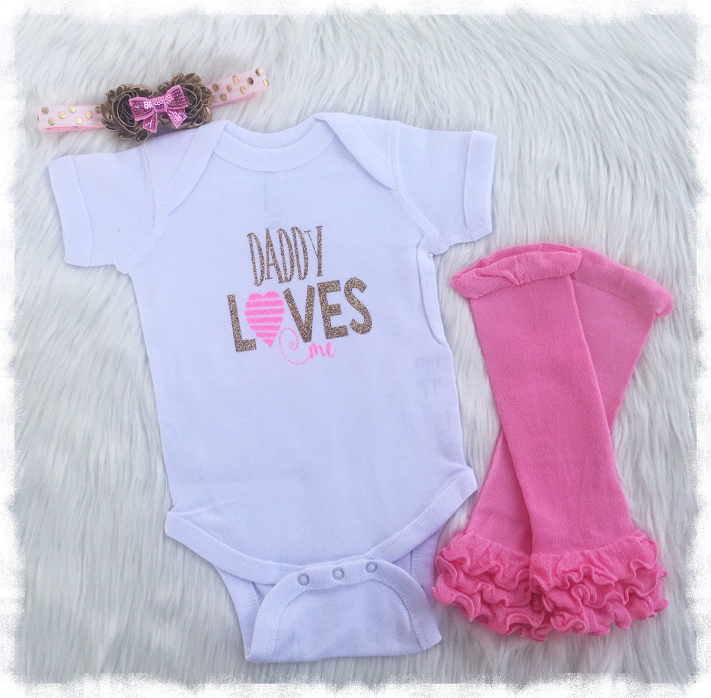 Newborn Baby Girl Boutique Clothes, Daddy Loves Me Bodysuit