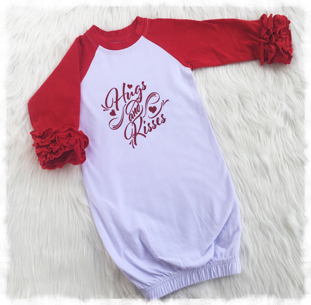 Baby Girl Layette Gown, Cute Ruffled Sleeve Red And White Raglan ...