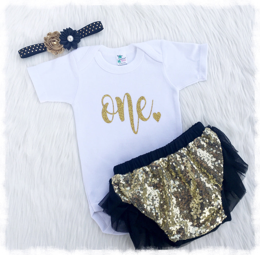 b9618358c94ab Stylish Baby Girl Clothes, First Birthday Black And Gold Outfit - Weebie  Cuties