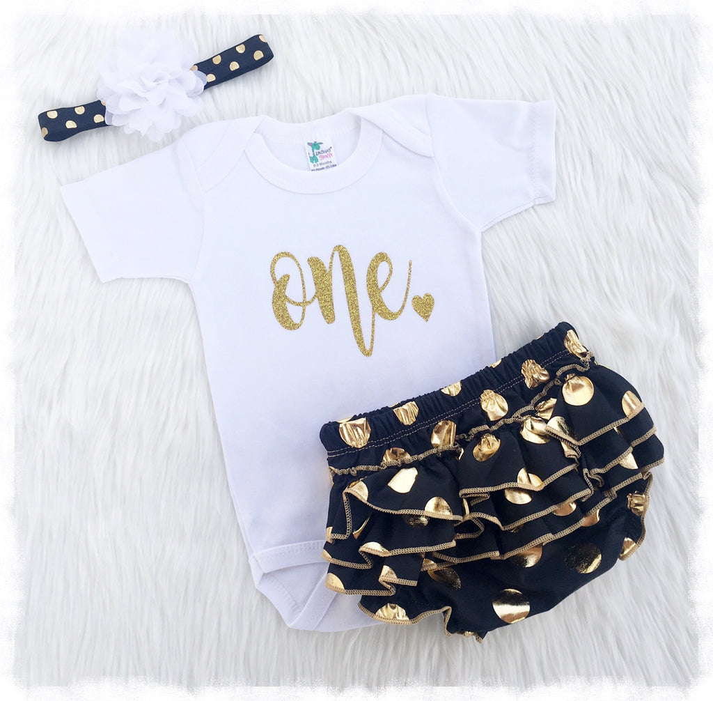 Baby Girl Birthday Outfits, One Bodysuit, Black And Gold Bloomers ...