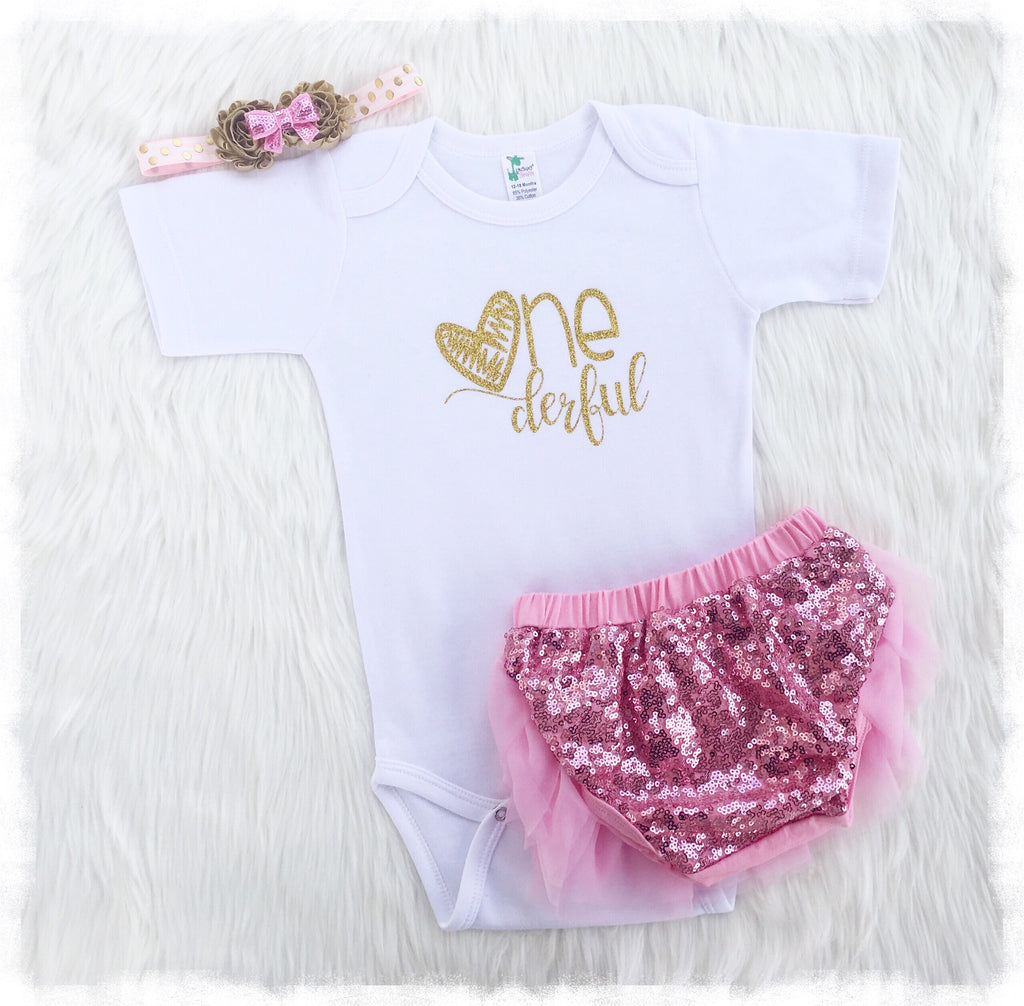 9f92ce891963a Baby Girl First Birthday Outfit, Pink And Gold One Outfit - Weebie Cuties