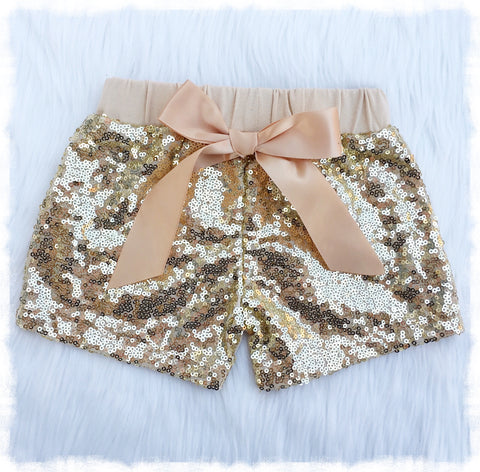 51190fc7b9e3c Sale Baby Girl Gold Sequin Shorts, Baby Girl Summer Clothes - Weebie Cuties
