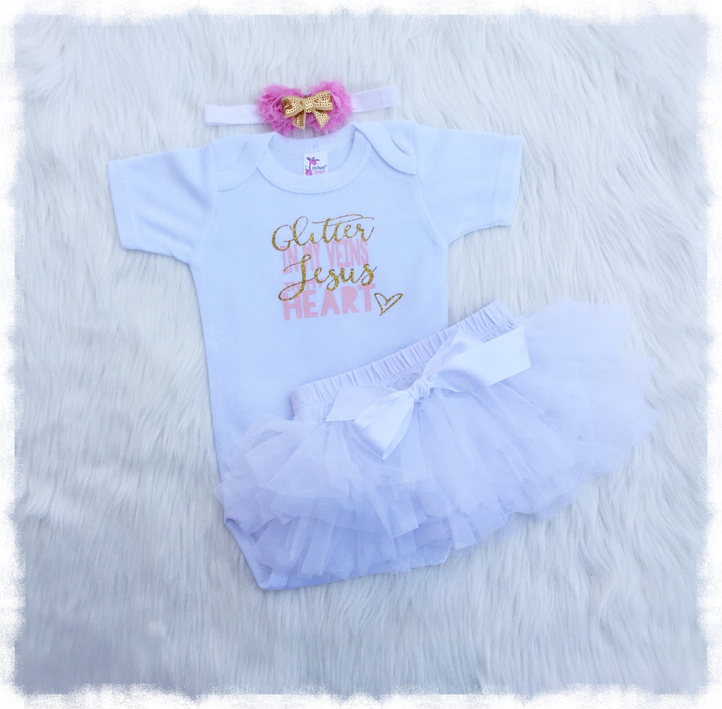 Cute newborn baby girl clothes jesus in my heart outfit weebie cuties