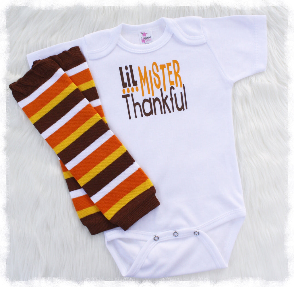 6f2bd835 Baby Boy First Thanksgiving Outfit, Lil Mister Thankful - Weebie Cuties