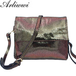 Small genuine leather shoulder bag with metallic effects
