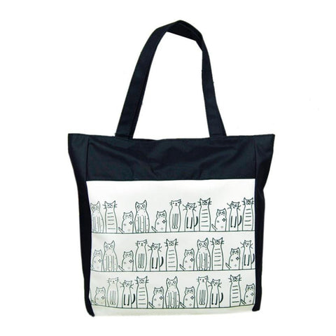 Summer Canvas Tote Cat Bag