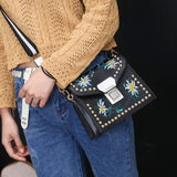 Faux Leather Shoulder Bag with flower pattern