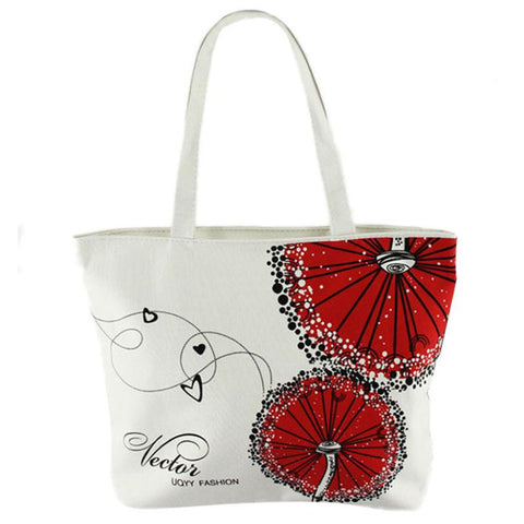 Stylish Canvas Red Dandelion Pattern Tote Bag