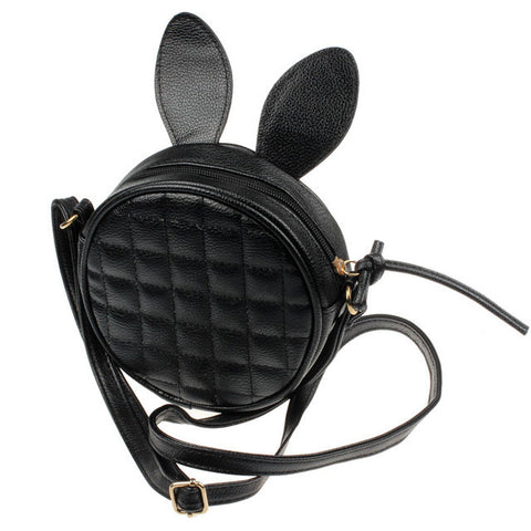 Round leather rabbit handbag