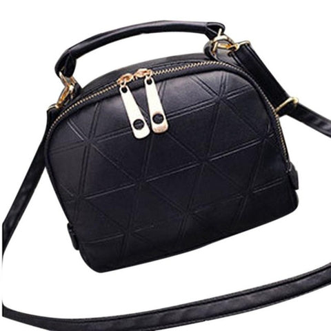 Faux Leather Classic Handbag with Diamond Pattern