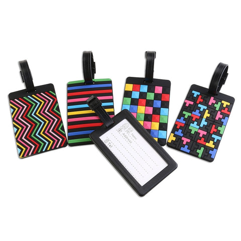 5pcs Soft PVC Luggage Tags with Geometric Pattern