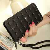 Women Skull Zippered PU Wallet