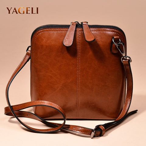 Genuine leather women's shoulder bags