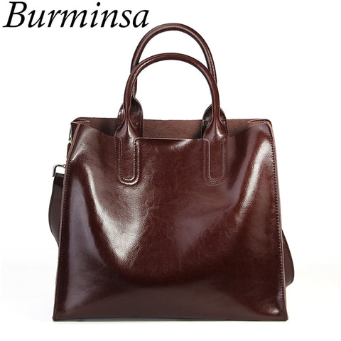 Genuine Leather Minimalist Style Tote Bag