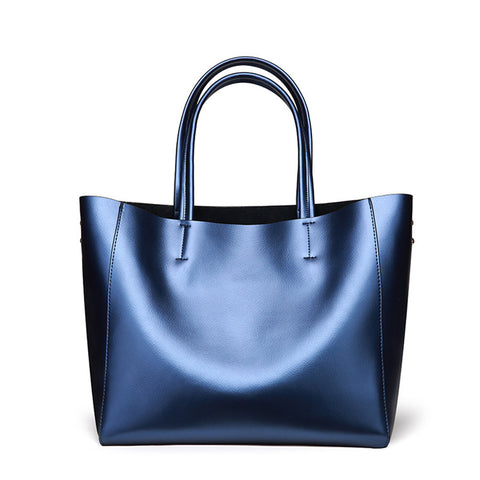 Large Casual Faux Leather Tote Bag with Small Cosmetic Bag
