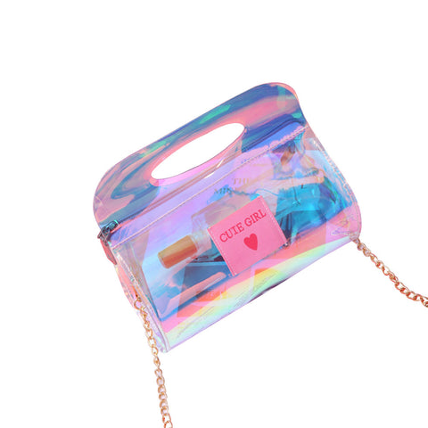 Hologram Clutch Purse with Chain
