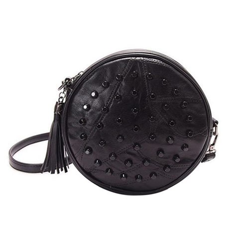 Fashionable Round Leather Purse with Bulge Rivets