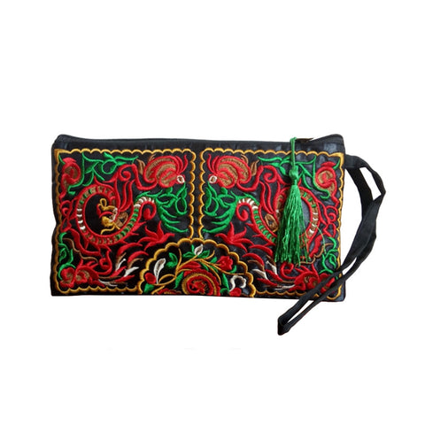 Ethnic Style Embroidered Canvas Clutch Bag