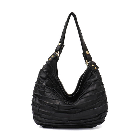 Genuine Leather Patchwork Hobo Bag