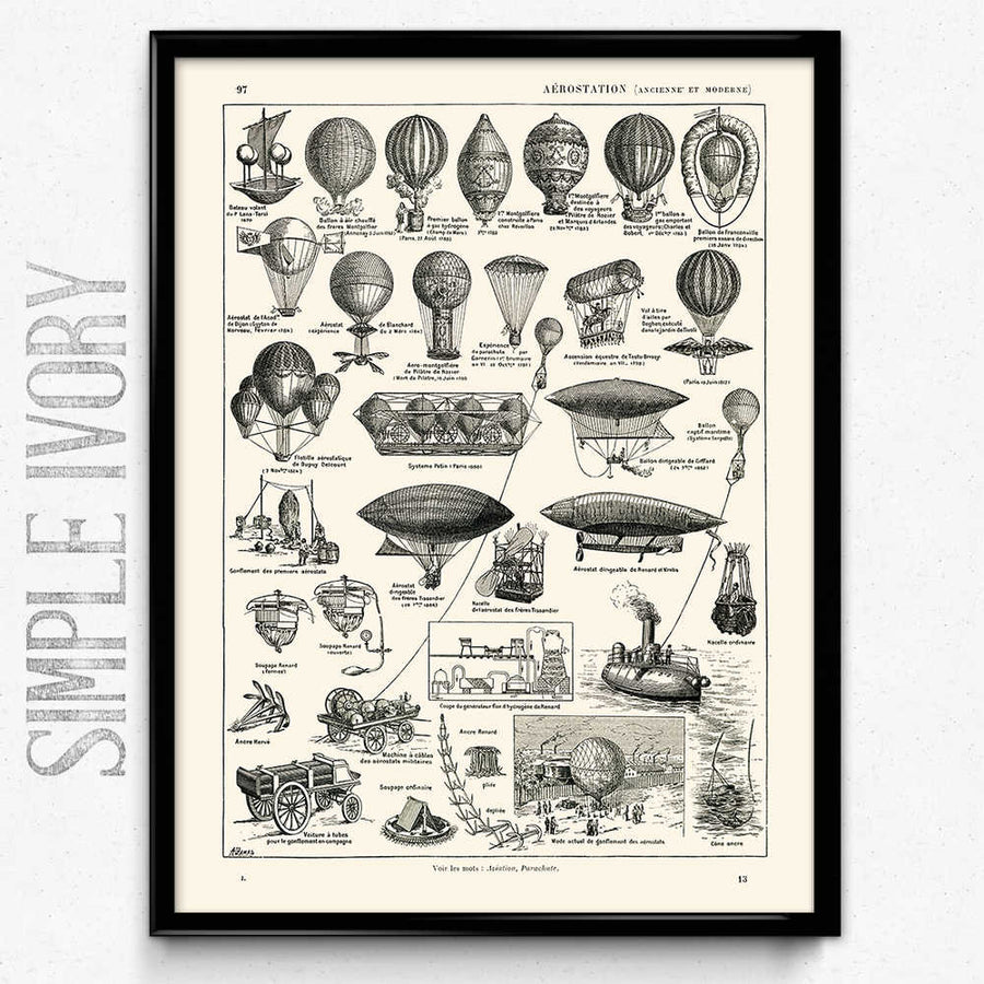 Osta Airships Balloons Vintage Print 2 (VP1005) - Orion Wells