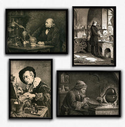 Biology, Chemistry, Alchemy, Laboratory Vintage Print Set of 4 - Orion Wells