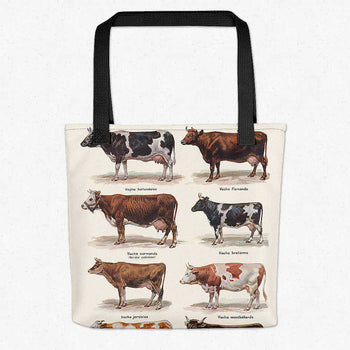 Cows Breeds Vintage Print Tote Bag - Orion Wells