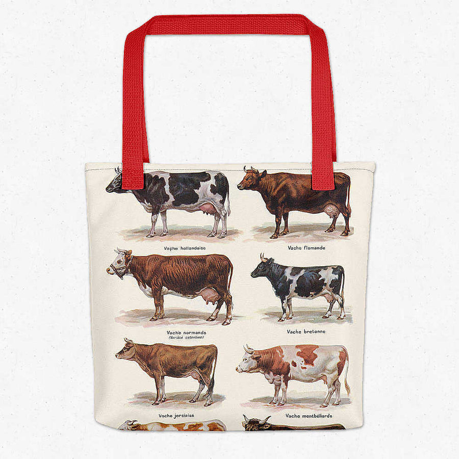 Shop for Cows Breeds Vintage Print Tote Bag - Orion Wells