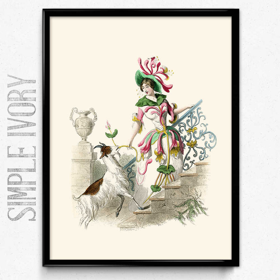 Flower Girl Honeysuckle Vintage Print - Orion Wells