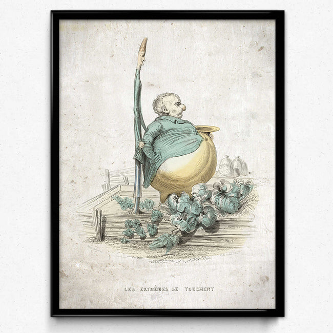 Kitchen Humor Vintage Print 9 - The Odd Couple - Asparagus and Pumpkin - Varin (VP1103) - Orion Wells
