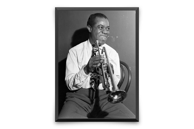 Louis Amstrong Vintage Photo - Amerikkalainen kuuluisa jazzmuusikko New Orleans Photo Stretch Canvas Wall Art VP1207 - Orion Wells