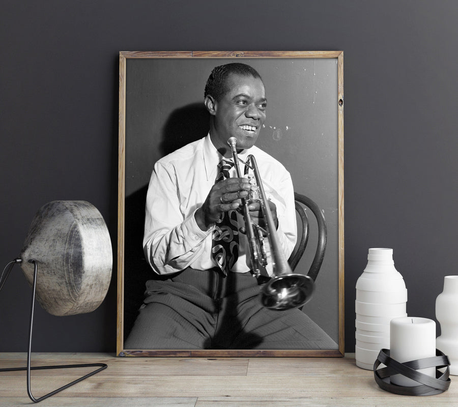 Shop for Louis Amstrong Vintage Photo - American Famous Jazz Musician New Orleans Photo Stretched Canvas Wall Art VP1207 - Orion Wells