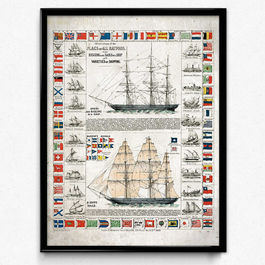 Shop for Sailing Ships and Flags Vintage Print - Orion Wells
