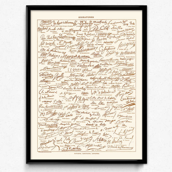 Handwriting Signatures Vintage Print 1 - VP1062 - Orion Wells